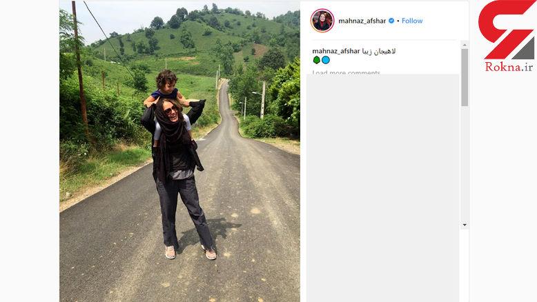 عکس خانم بازیگر ایرانی و دختر زیبایش در شمال! +عکس