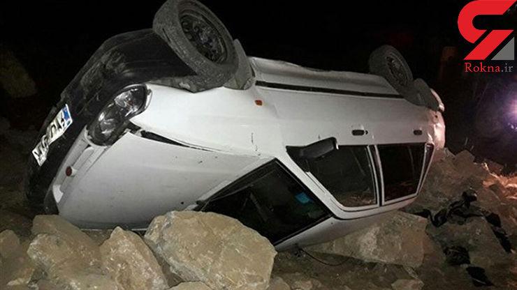 واژگونی مرگبار پراید در جاده بانه + عکس