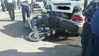 تصادف پراید و موتورسیکلت در جاده فرعی + عکس