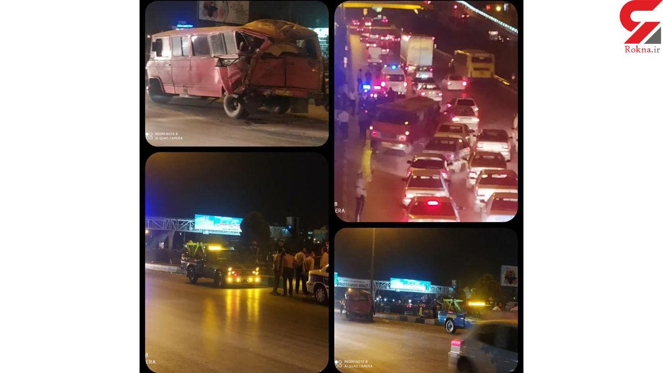 تصادف هولناک اتوبوس مسافربری با مینی بوس در مشهد + عکس