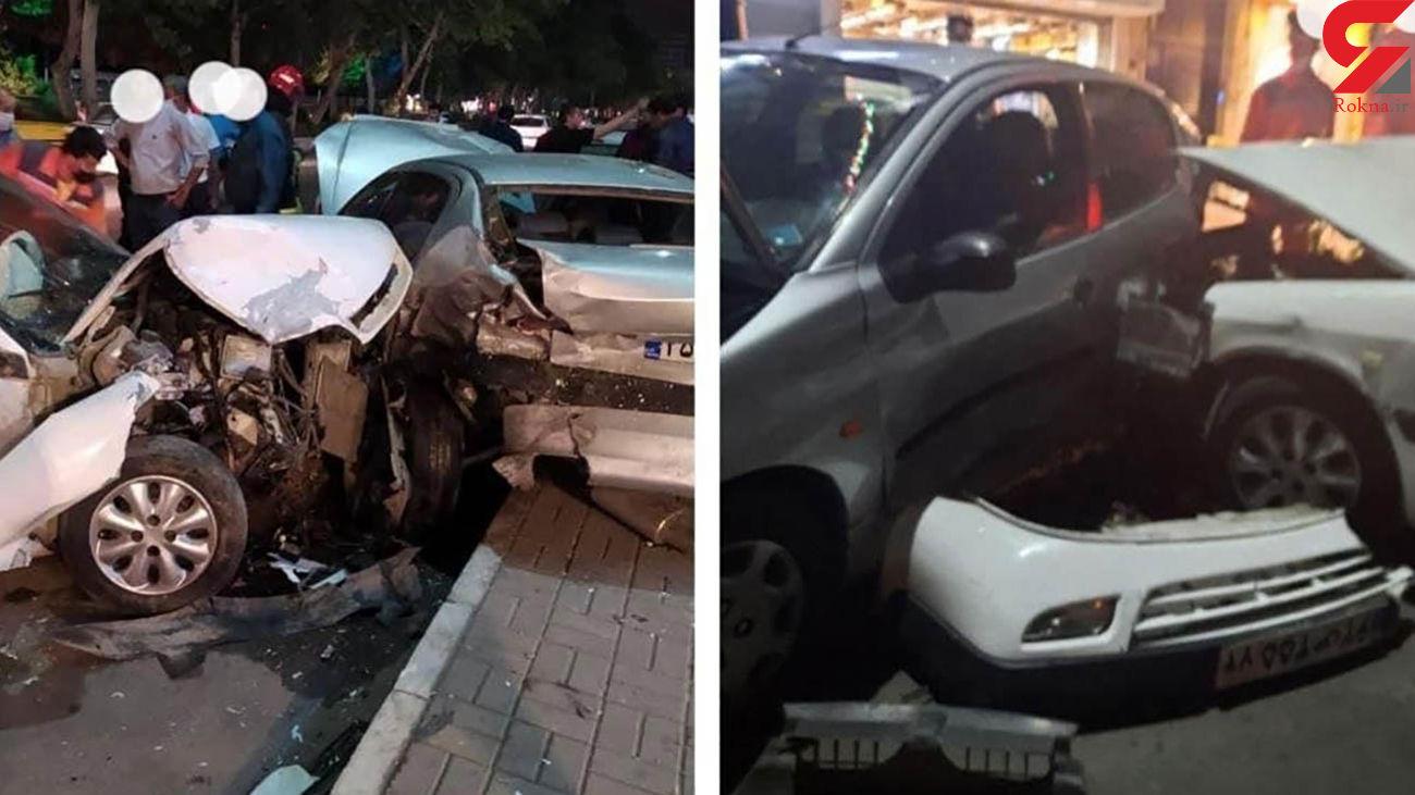 تصادف 3 خودرو در احمد آباد / همگی له شدند + عکس