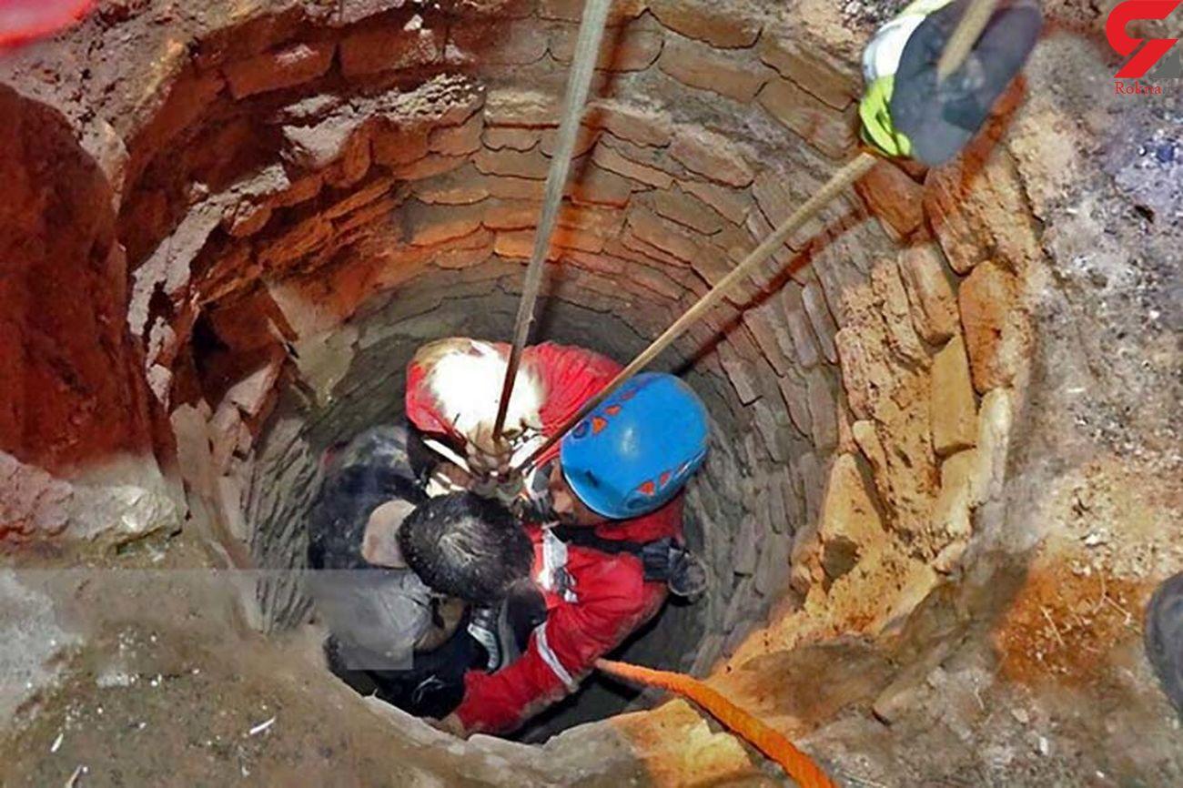 نجات جان فرد گرفتار شده در چاه توسط آتشنشانان رودهن