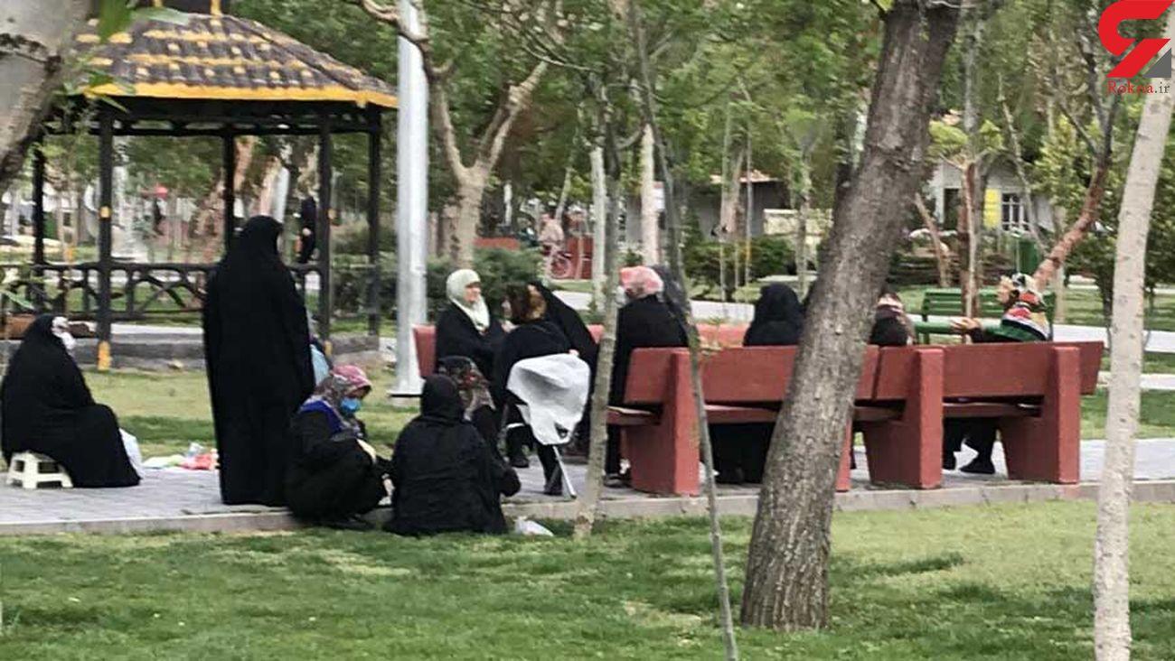 دورهمی کرونایی زنان در پارک فجر تهران + عکس