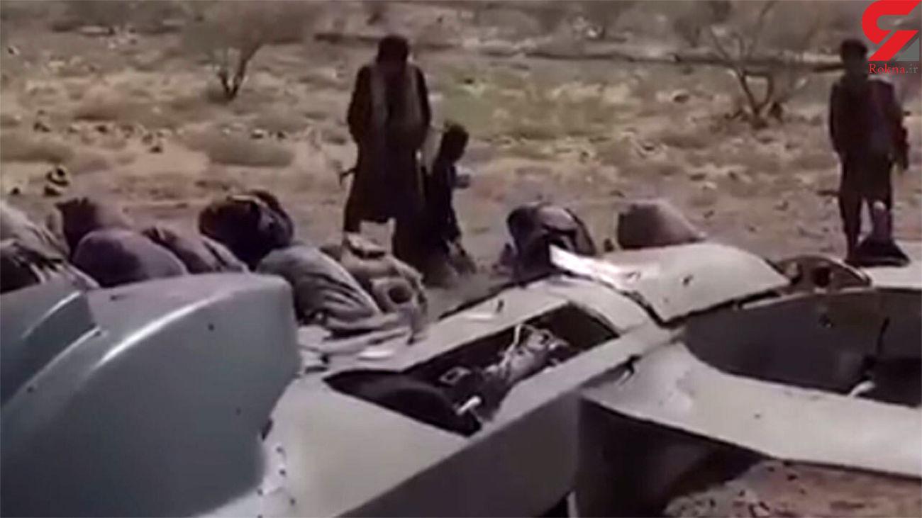 نماز شکر رزمندگان انصارالله یمن در کنار پهپاد سرنگون شده عربستان + فیلم