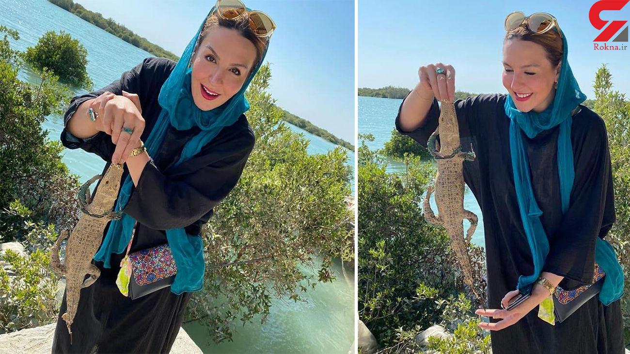 حرکت خطرناک بازیگر زن ایرانی / آزیتا ترکاشوند یک گاندو را در آغوش گرفت ! + عکس