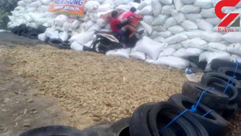 لحظه تصادف عجیب  یک موتورسیکلت + فیلم