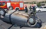 2 مصدم بر اثر واژگونی دو خودروی سواری پژو