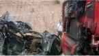 تصادف مرگبار سمند با کامیون / راننده سمند در دم جان باخت +عکس