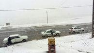 بارش شدید برف و شرایط نامساعد جوی در گردنه های تیوان+عکس