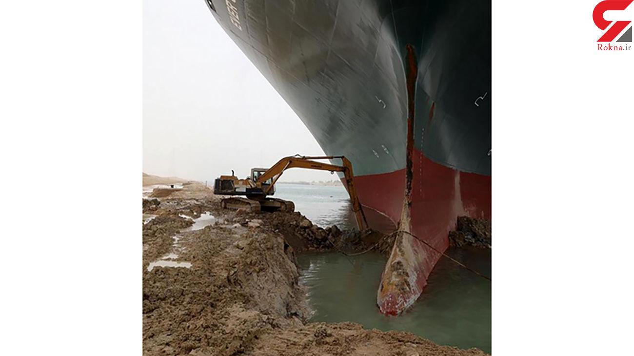 عکس / آزاد سازی  کشتی به گل نشسته در کانال سوئز