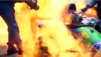 فیلم لحظه زنده زنده سوختن مرد راننده
