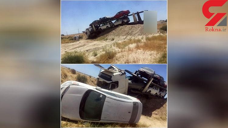 تریلی حمل ماشین های لوکس خارجی در قشم به دره رفت +عکس