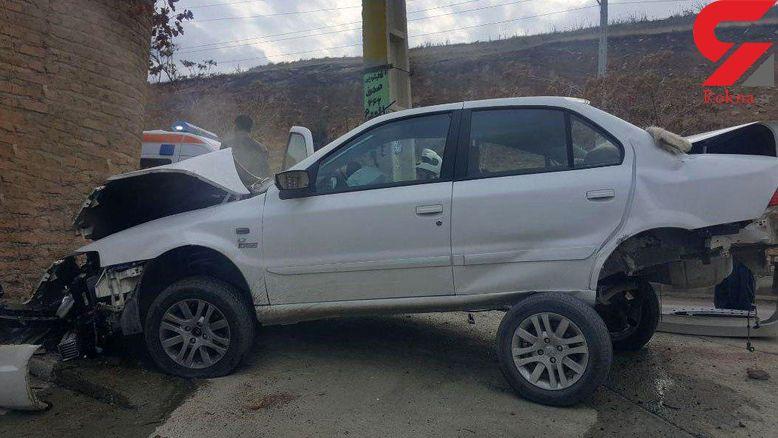مچاله شدن محکم ترین خودروی ساخت ایران در تصادف با تیر برق + تصاویر عجیب
