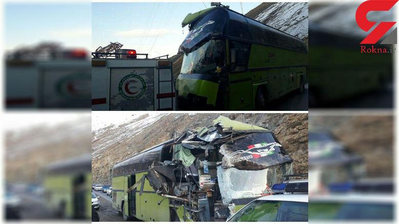 عکس مچاله شده اتوبوس در تصادف با کوه جاده چالوس + چزییات