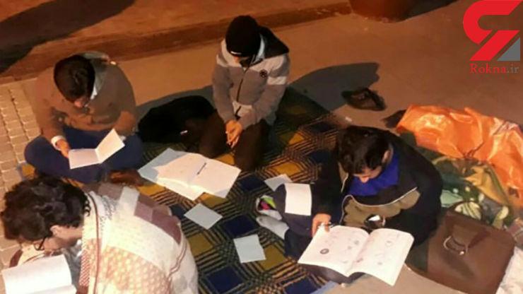 کارتن خوابی دانشجویان شیرازی در هوای سرد زمستان+ تصاویر