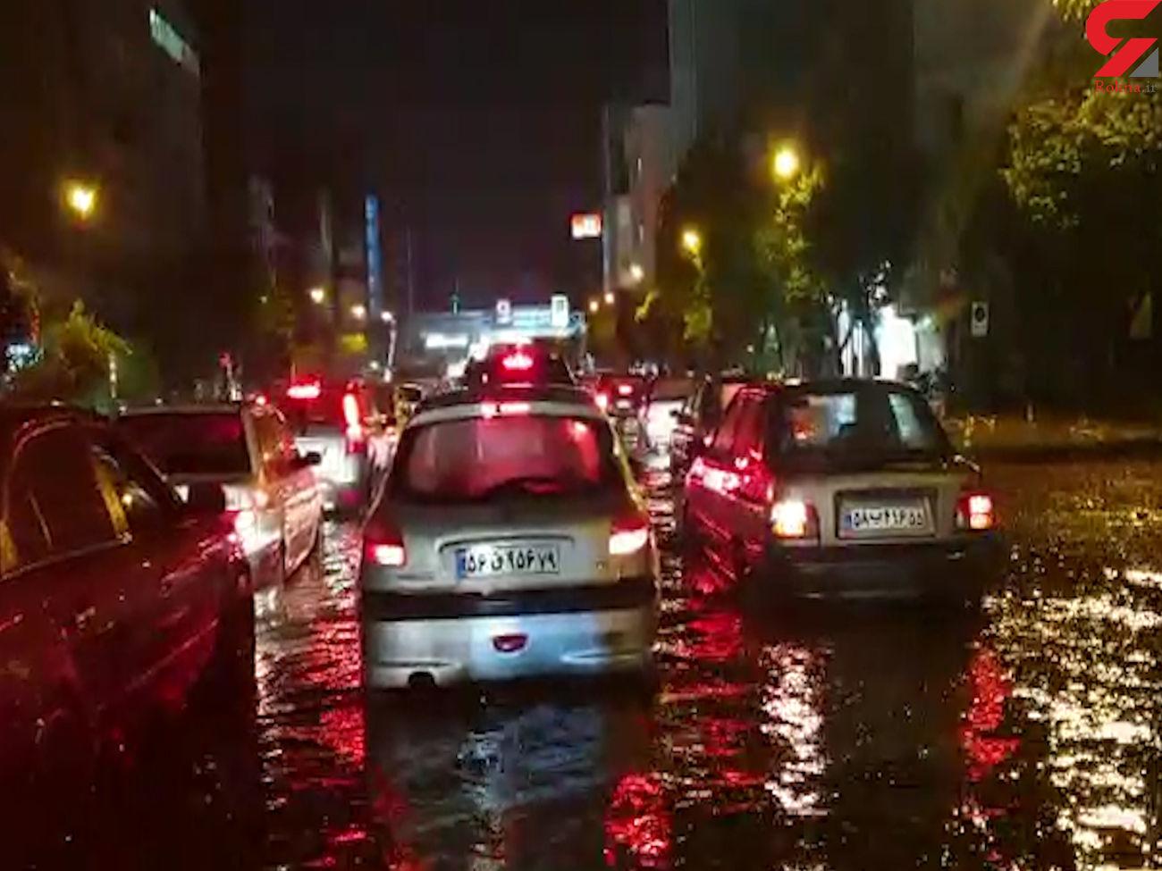باران تهرانی ها را غافلگیر کرد / آب گرفتگی در خیابان های تهران +عکس و فیلم