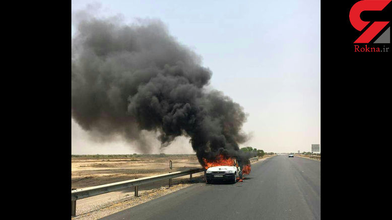 گرمای هوای خوزستان یک وانت را به آتش کشید + عکس