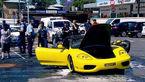 خودرو فراری در آتش رقصید/ سرقت ناجوانمردانه در هنگام آتش سوزی خودرو+عکس و فیلم