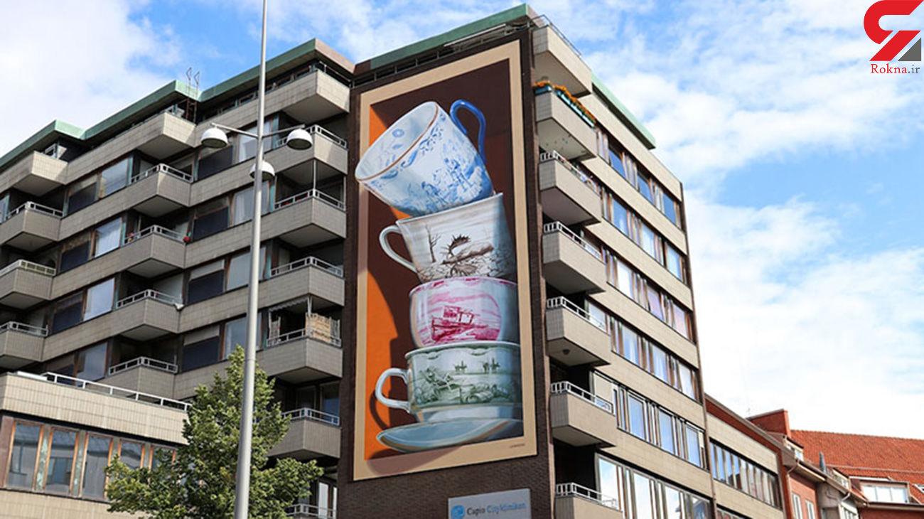 نقاشی دیواری سه بعدی فنجانهای نامتعادل+ تصاویر
