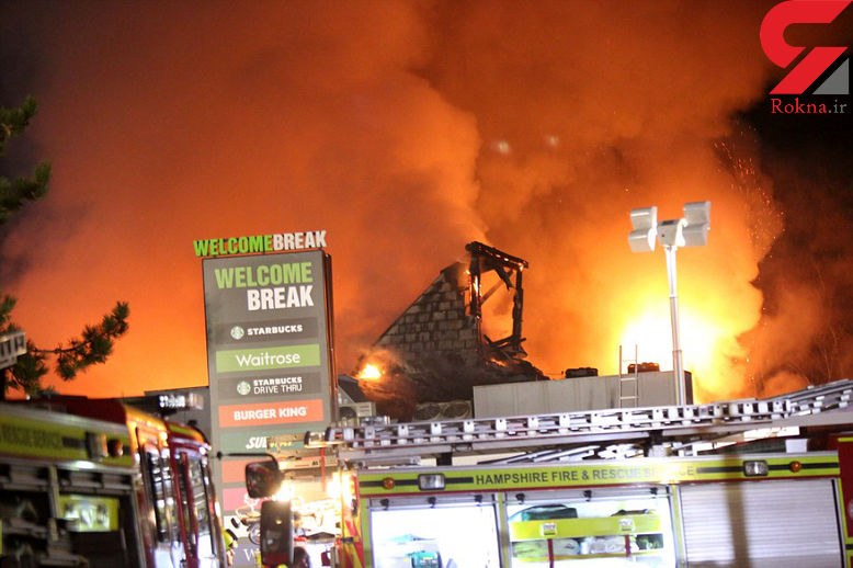 آتش سوزی مهیب جایگاه سوخت اقامتگاه در اتوبان +عکس
