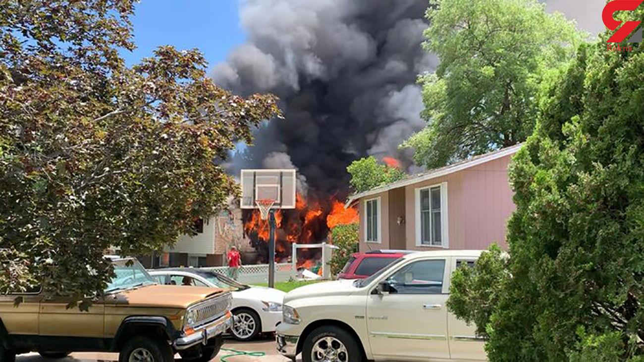 سقوط هواپیما با 6 سرنشین روی ساختمان مسکونی  + عکس