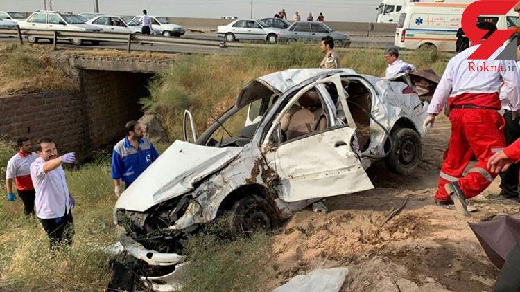 واژگونی مرگبار یک خودرو 206 در محور قزوین- تهران +عکس