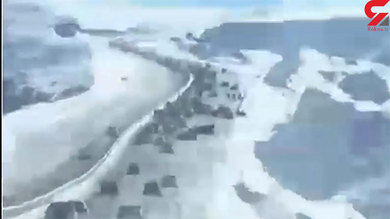 تصادف زنجیرهای وحشتناک در بزرگراه تازه تاسیس تبریز + فیلم