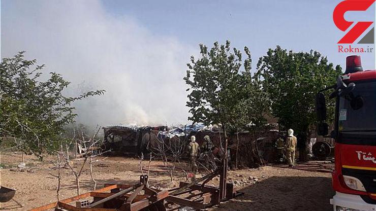 آتش سوزی یک دامداری در جاده ورامین
