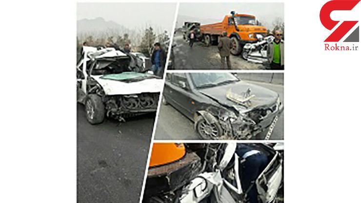 آسیب دیدگی ۵ نفر بر اثر تصادف زنجیرهای در کمربندی نجفآباد