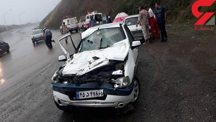 تصادف وحشتناک کامیون با پژو در محور آستارا- اردبیل