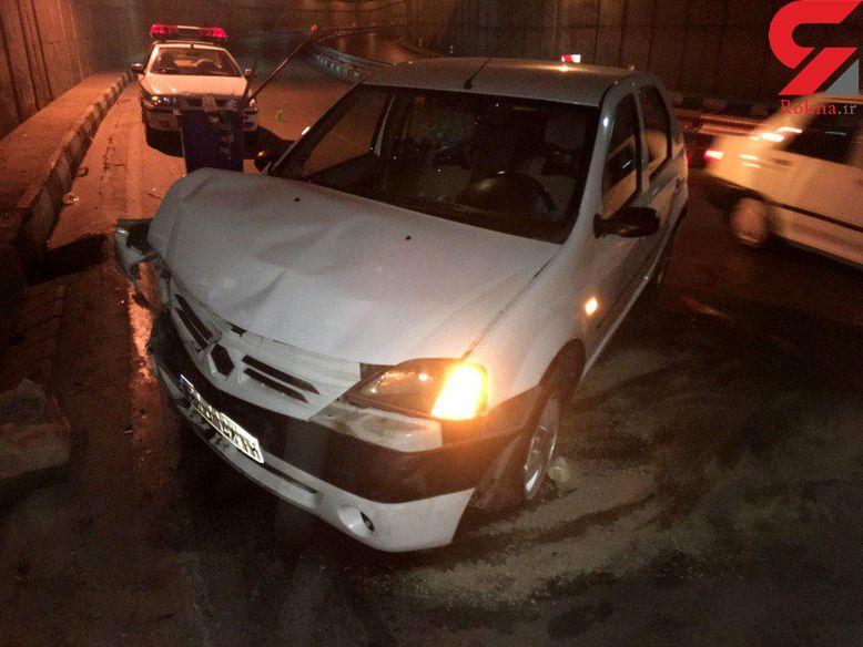 تصادف شدید خودرو ال 90 زیر پل جمهوری مشهد / چه کسی در خیابان روغن ریخته بود؟ +تصاویر