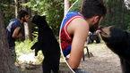 غذا دادن به یک خرس وحشی در جنگل به شیوهای خطرناک + فیلم