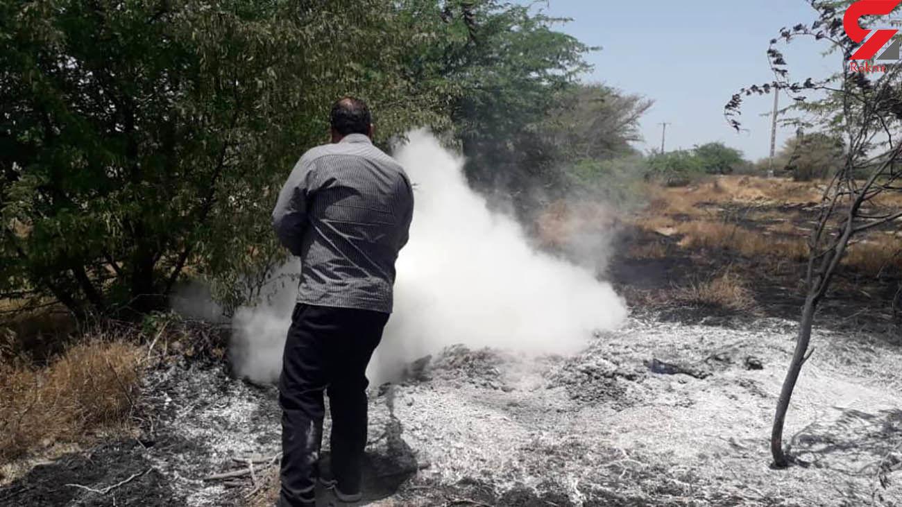آتش سوزی بخشی از اراضی سیریک را سوزاند