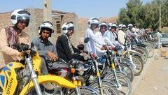 توزیع کلاه ایمنی و شبرنگ مخصوص موتورسیکلت در سیستان وبلوچستان